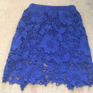 Bodycon blue lace skirt from Tobi(worn once!)